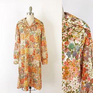 Vintage 1970s Long Sleeve Floral Dress Collar J810